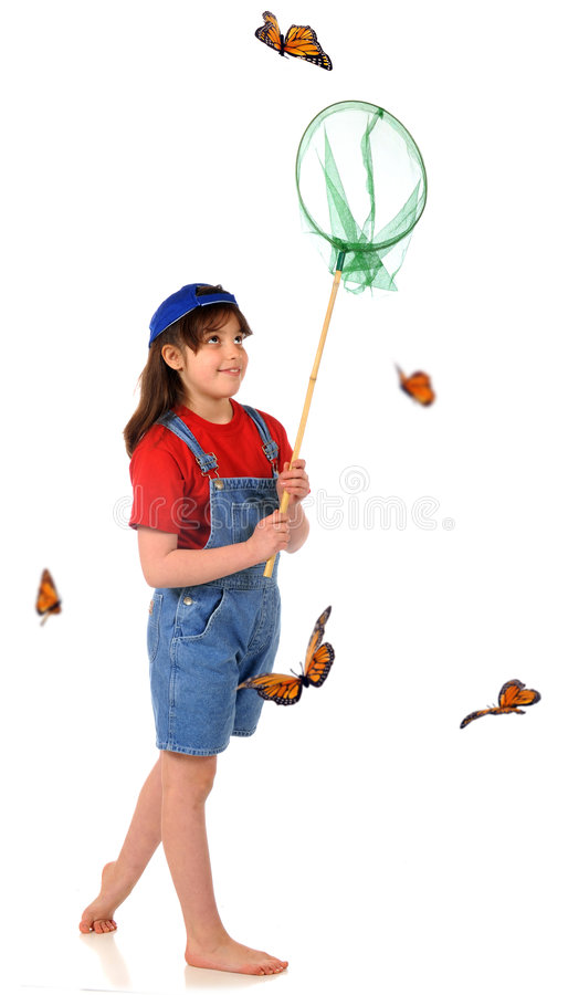 Download Butterfly Catcher stock photo. Image of white, smile, orange - 8833154