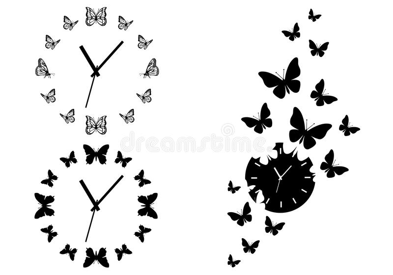 Butterfly Clocks, Vector Set Royalty Free Stock Photo