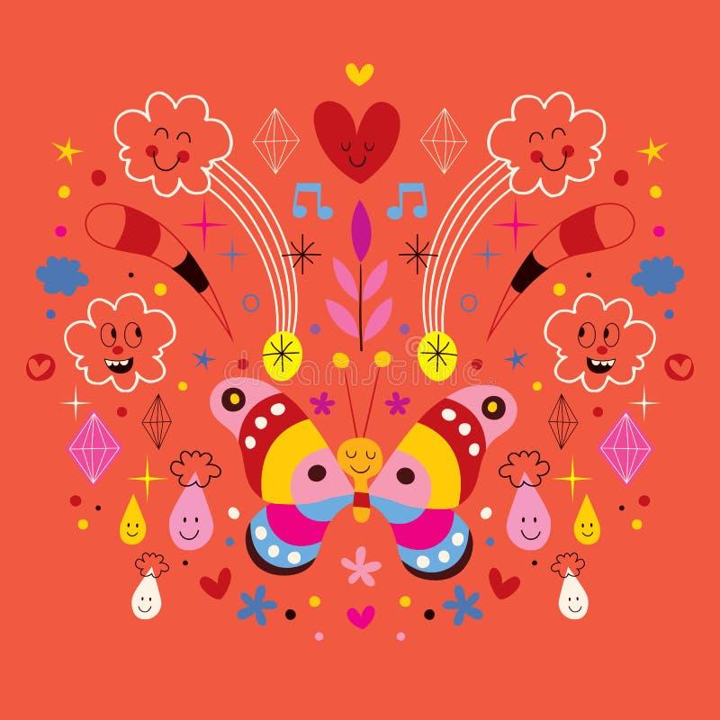 Butterfly, clouds, flowers, diamonds, raindrops cartoon nature harmony vector illustration stock illustration
