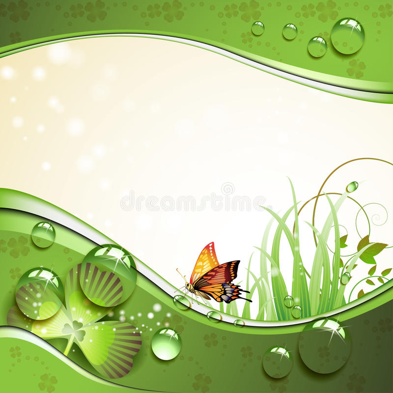 Free Butterfly, Clover And Grass With Drops Royalty Free Stock Photos - 19436968