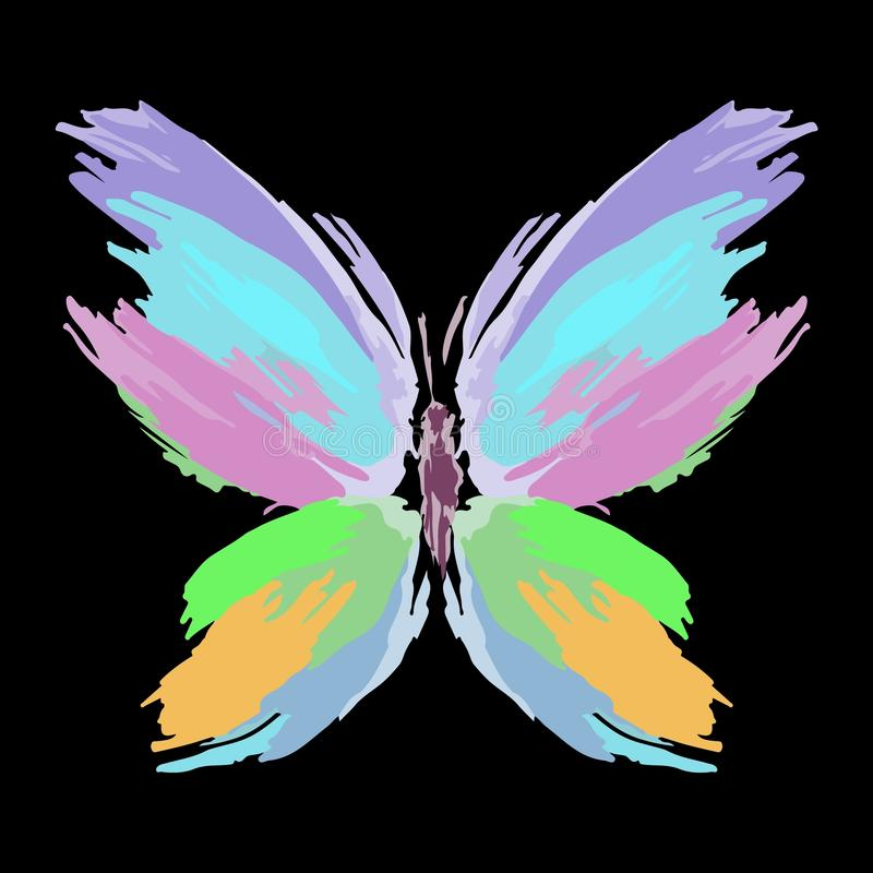 Butterfly from color splashes and line brushes. Vector stock images