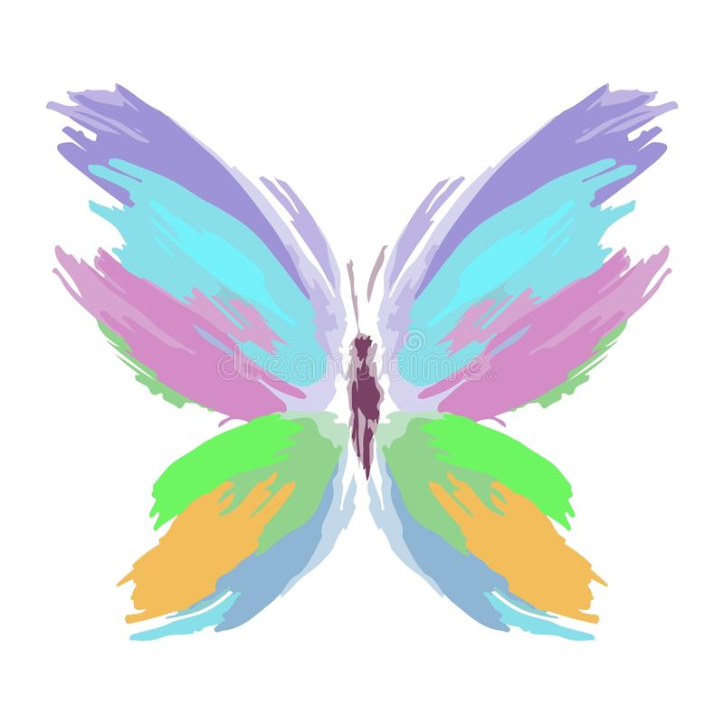 Butterfly from color splashes and line brushes. Vector royalty free stock photo