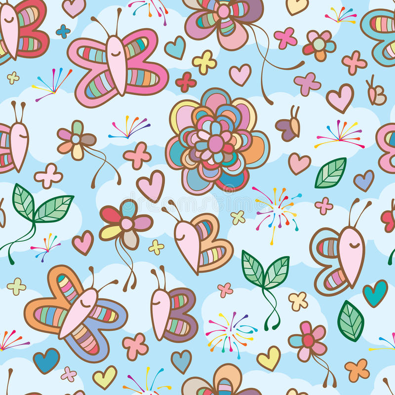 Butterfly colorful cute sky seamless pattern vector illustration