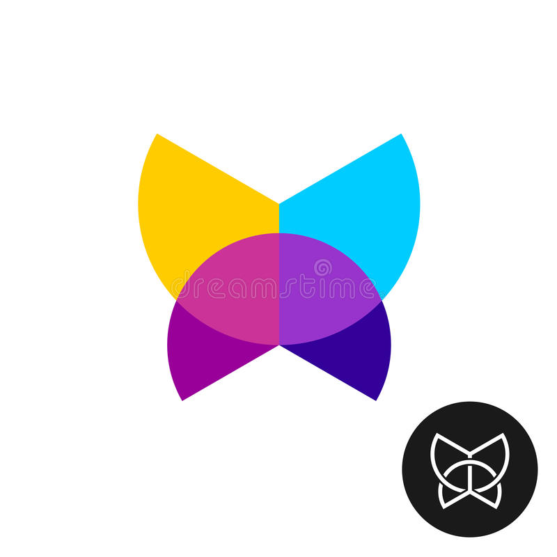 Butterfly colorful geometric logo. Butterfly logo. Colorful geometric circle sectors overlay butterfly icon vector illustration