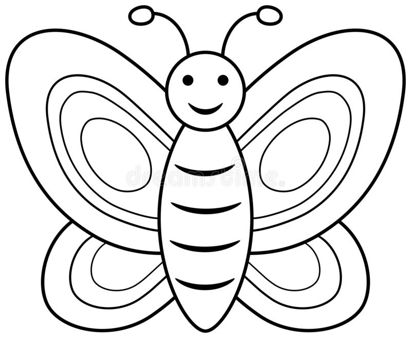 butterfly coloring book page vector outline illustration simple