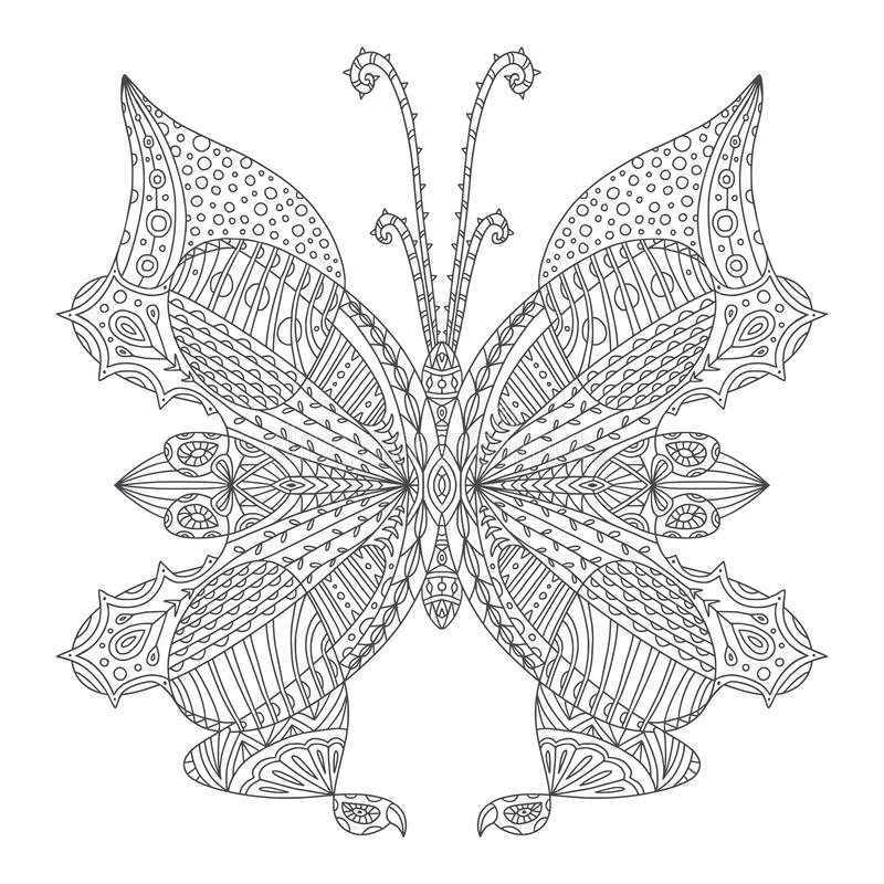 Free Butterfly Coloring Page. Tattoo Art Design. Coloring Book Illustration For Adult And Kids Royalty Free Stock Image - 140479626