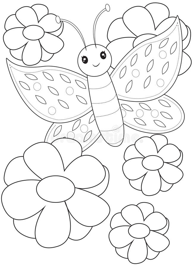 Butterfly coloring page stock illustration. Illustration ...