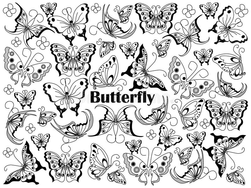 Butterfly colorless set vector illustration. Butterfly design colorless set vector illustration. Coloring book. Black and white line art vector illustration