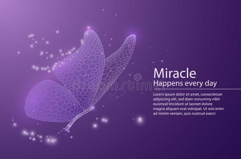 Butterfly composed of honeycomb. Low poly vector illustration of a star sky or space or underwater. The landing page or. Banner lines, dots and shapes stock illustration