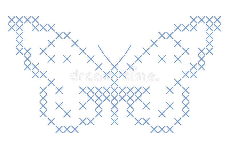 Butterfly criss-cross stitch embroidery vector illustration