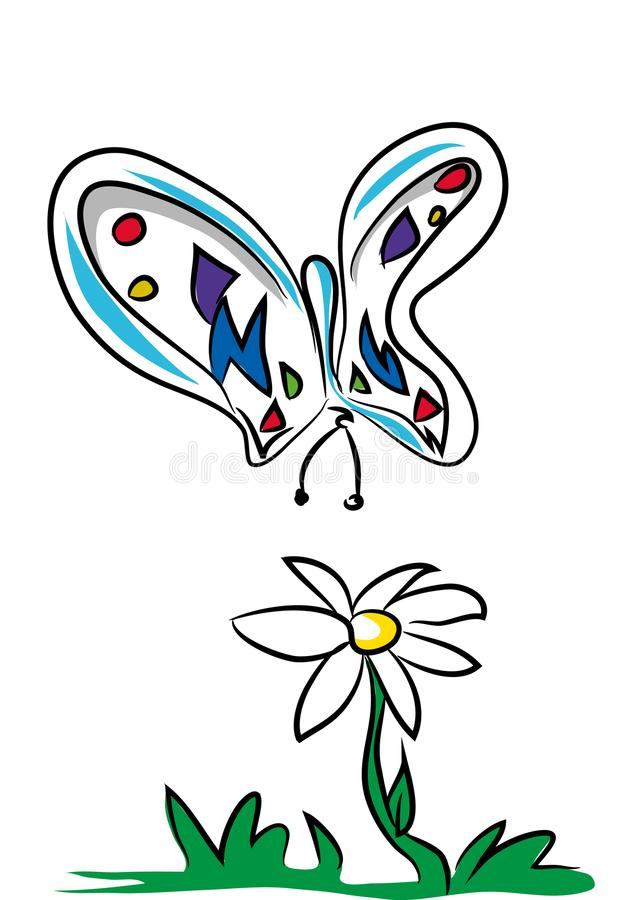 Butterfly and daisy royalty free illustration