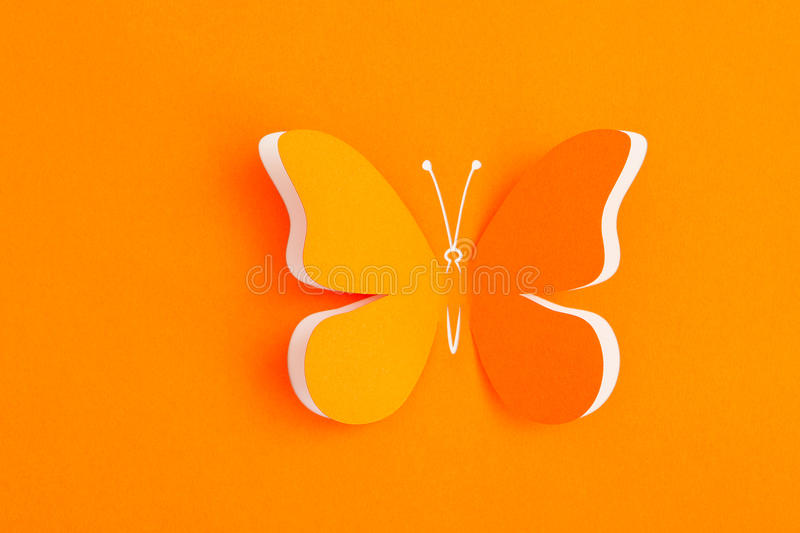 Butterfly decorative. Greeting card with paper butterfly stock image