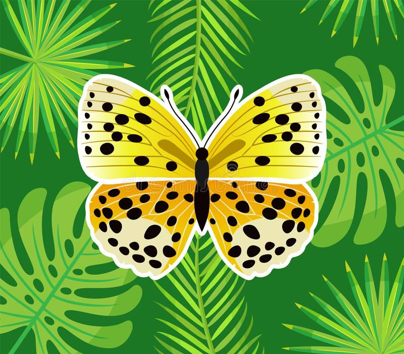 Insect with Wings, Yellow Butterfly in Dots Vector. Butterfly in dotted print isolated on green wallpaper with fern leaves, insect with big wings, flying insect royalty free illustration