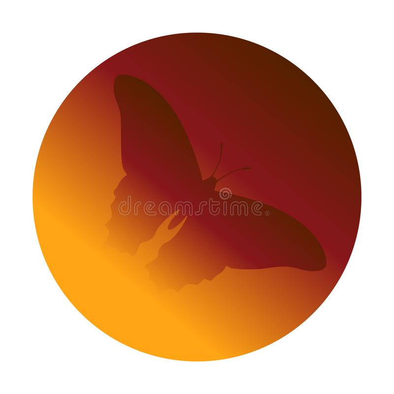 Butterfly encased in amber icon simple. Circular, gradient icon. Butterfly silhouette illustration stock illustration