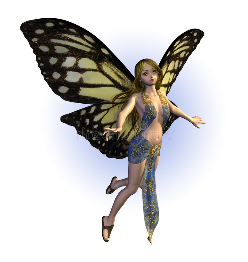 Butterfly Fairy. 3D render of a butterfly fairy vector illustration