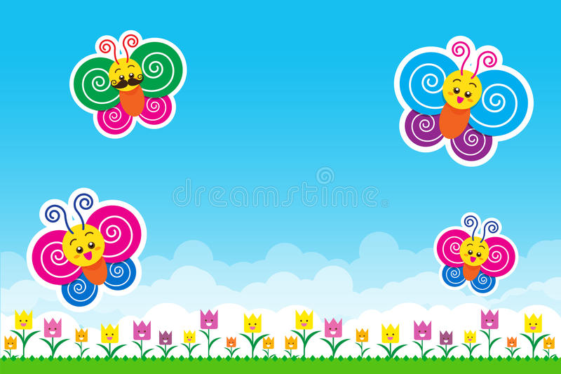Butterfly family Nature background with green grass and smile fl vector illustration