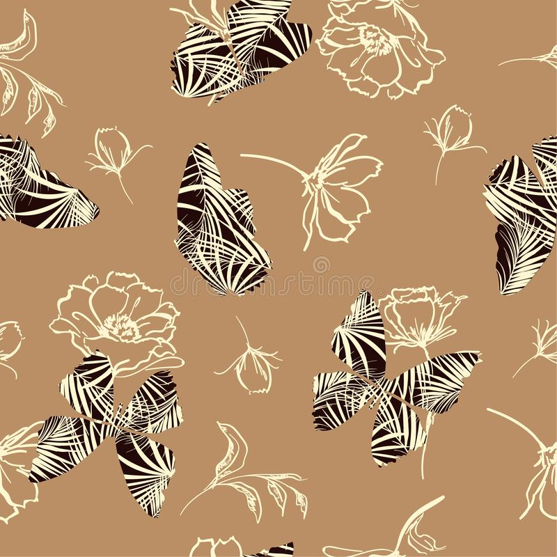 Butterfly fill-in tropical pattern flying on hand sketch doodle. Flower and leaves seamless vector design for fashion, fabric, wallpaper, and all prints on royalty free illustration