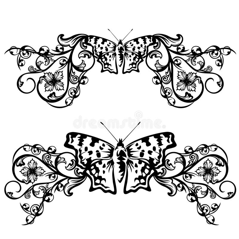 Decorative Black Flower Border Stock Image: Butterfly Floral Border Stock Vector. Illustration Of