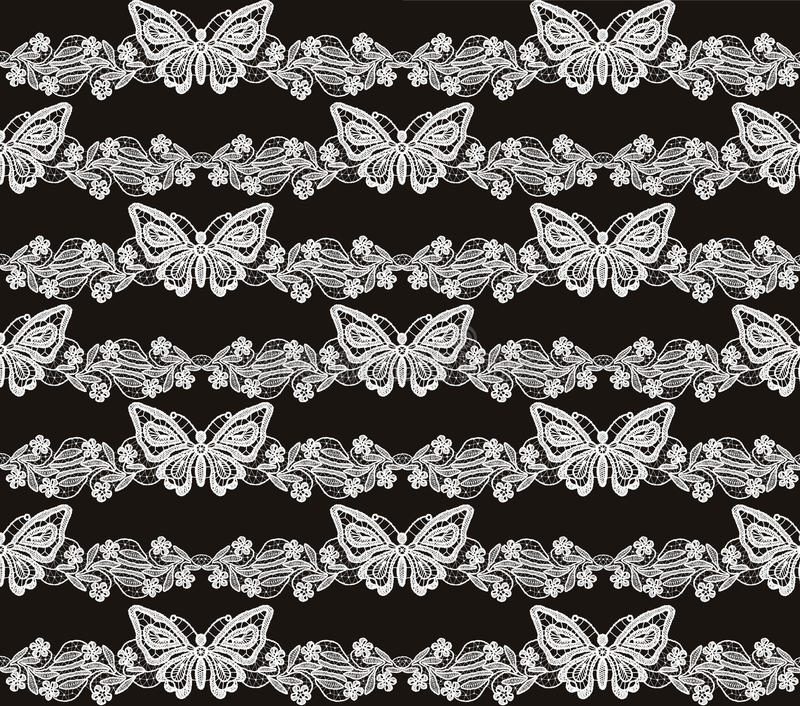 Download Butterfly And Floral White Lace Seamless Pattern Stock Illustration - Image: 36436935