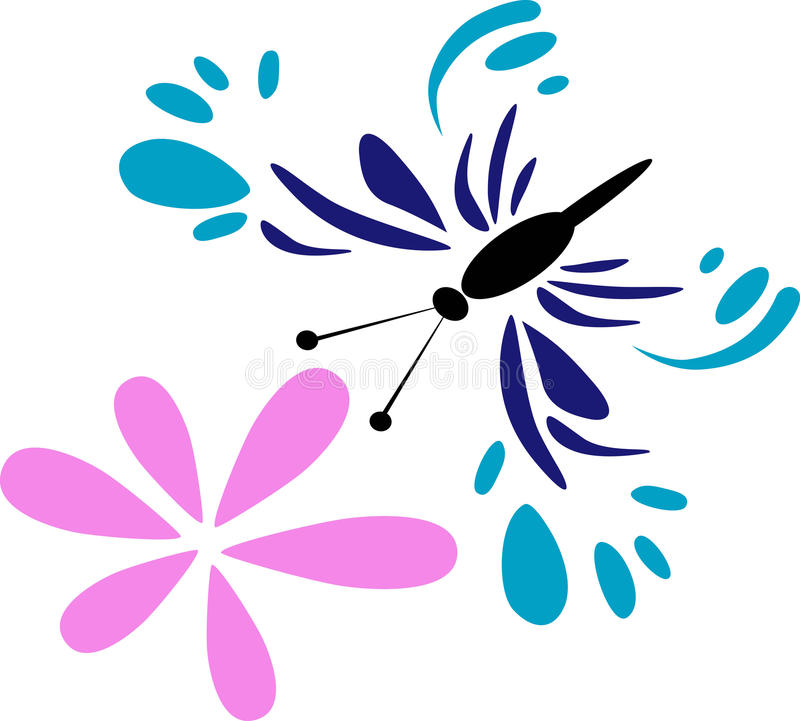 Butterfly with flower vector illustration