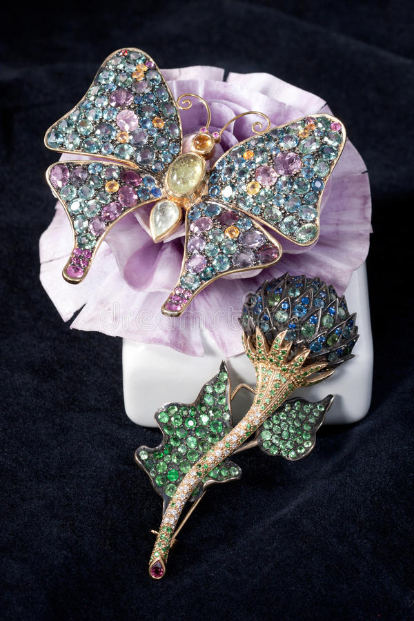 butterfly and flower brooches royalty free stock photography