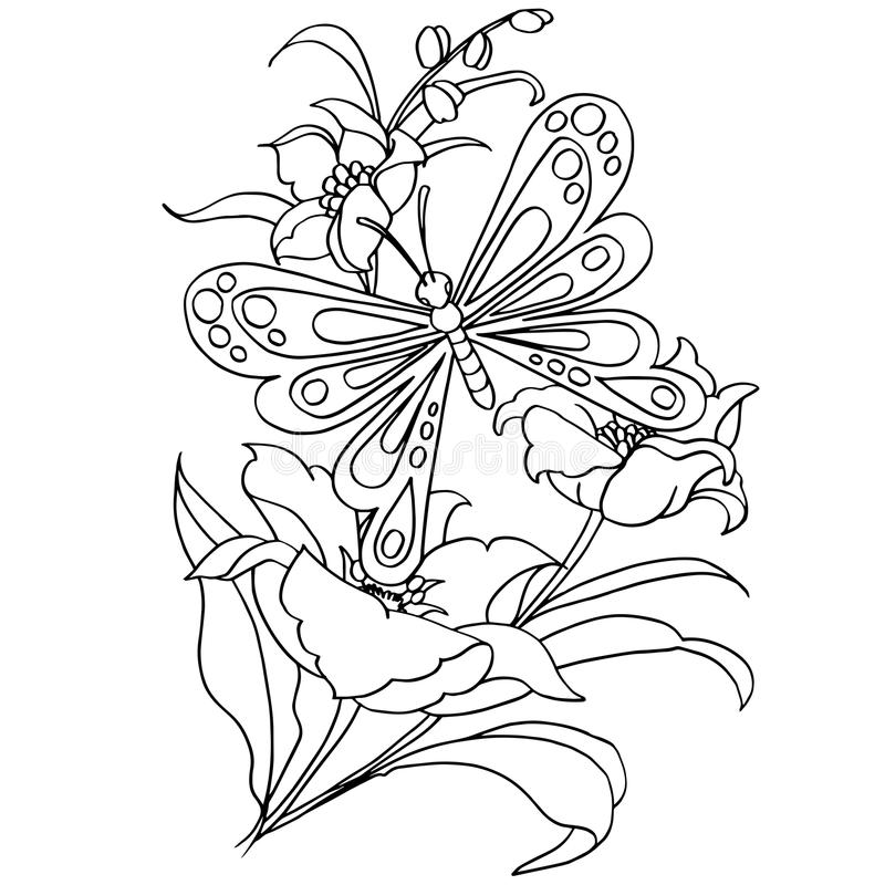 Butterfly and flower cartoon coloring page vector. Illustration stock illustration