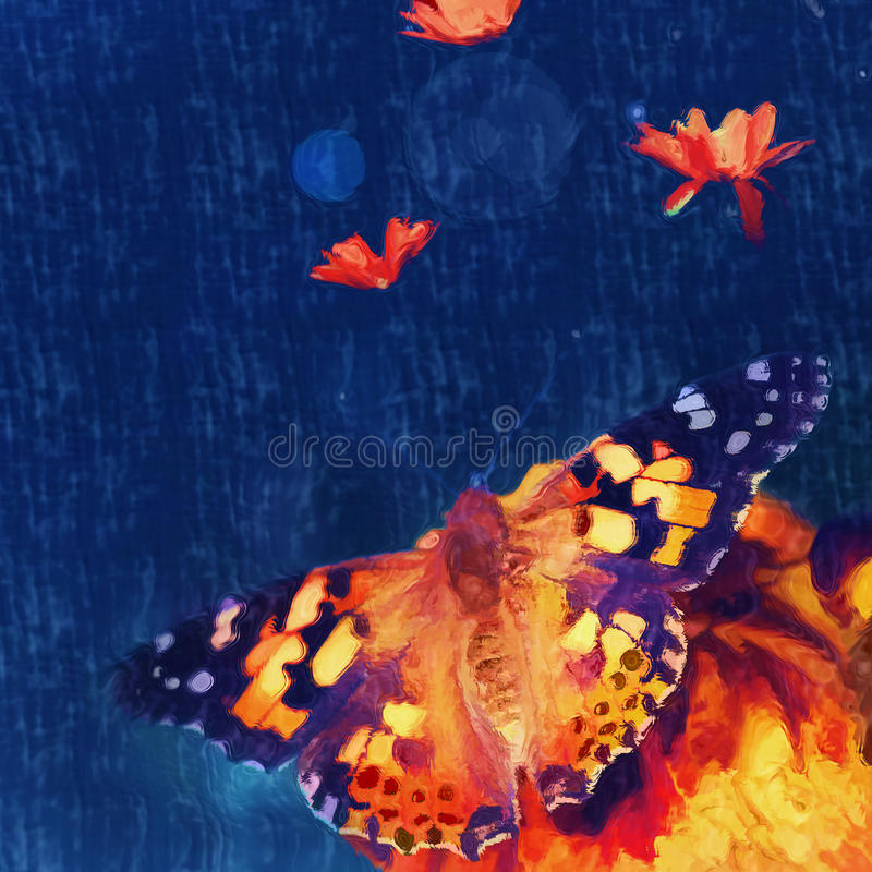 Butterfly on the flower.digital painting vector illustration