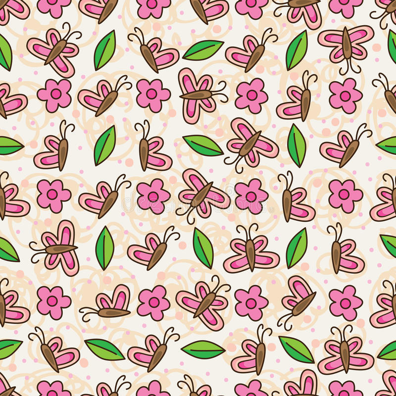Free Butterfly Flower Leaf Vertical Horizontal Seamless Pattern Royalty Free Stock Images - 57910769