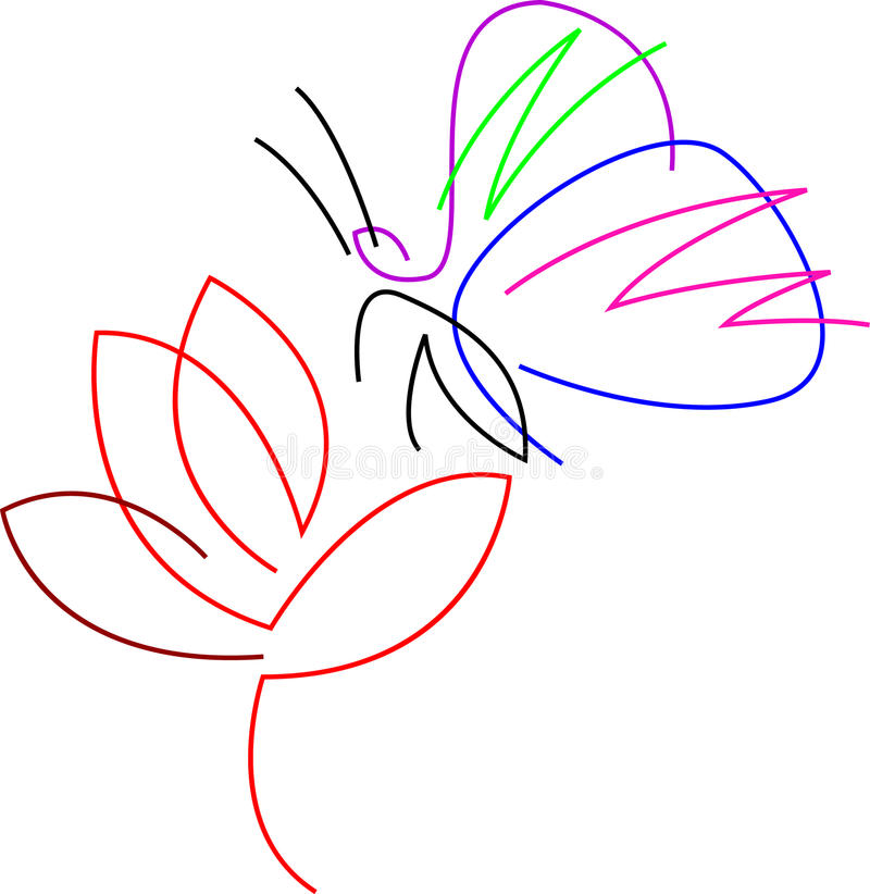 Butterfly with flower royalty free illustration