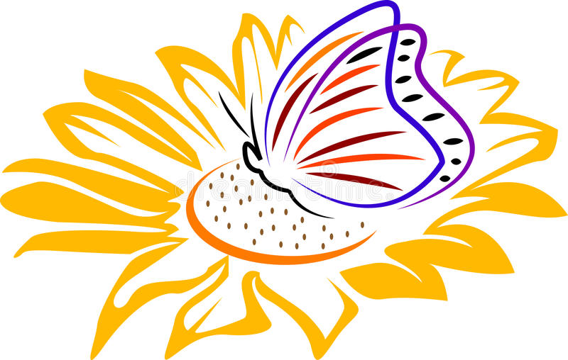 Butterfly on a flower stock illustration