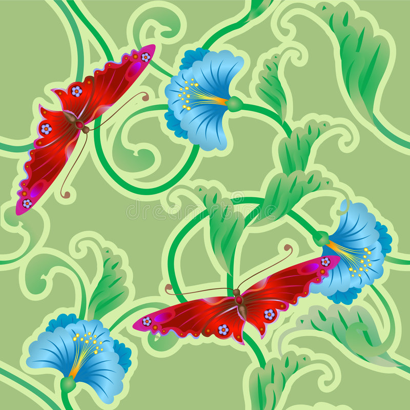 Butterfly and flower oriental. A beautiful butterfly and flower oriental tileable seamless repeating background. No meshes used stock illustration