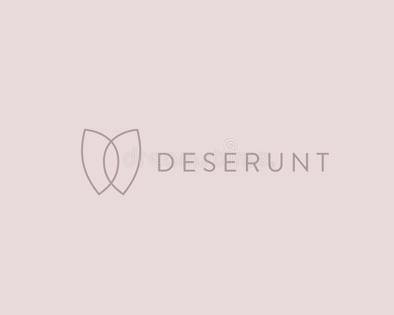 Butterfly flower simple vector logotype. Line minimalistic premium icon logo design. Butterfly flower simple vector logotype. Line minimalistic premium icon stock illustration
