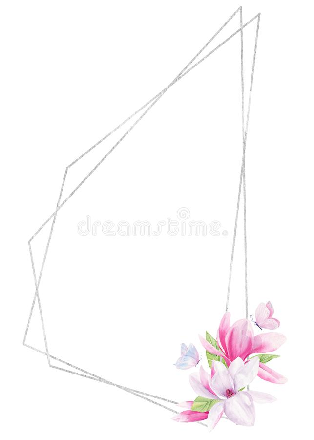 Butterfly on flower watercolor hand drawn raster frame template stock illustration