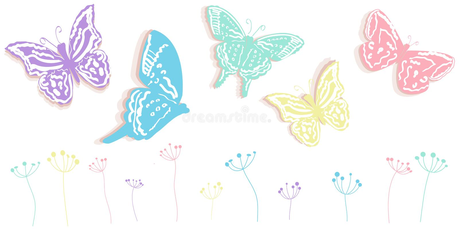 Butterfly and flowers abstract spring time banner vector background. Butterfly and flowers abstract spring time banner vector vector illustration