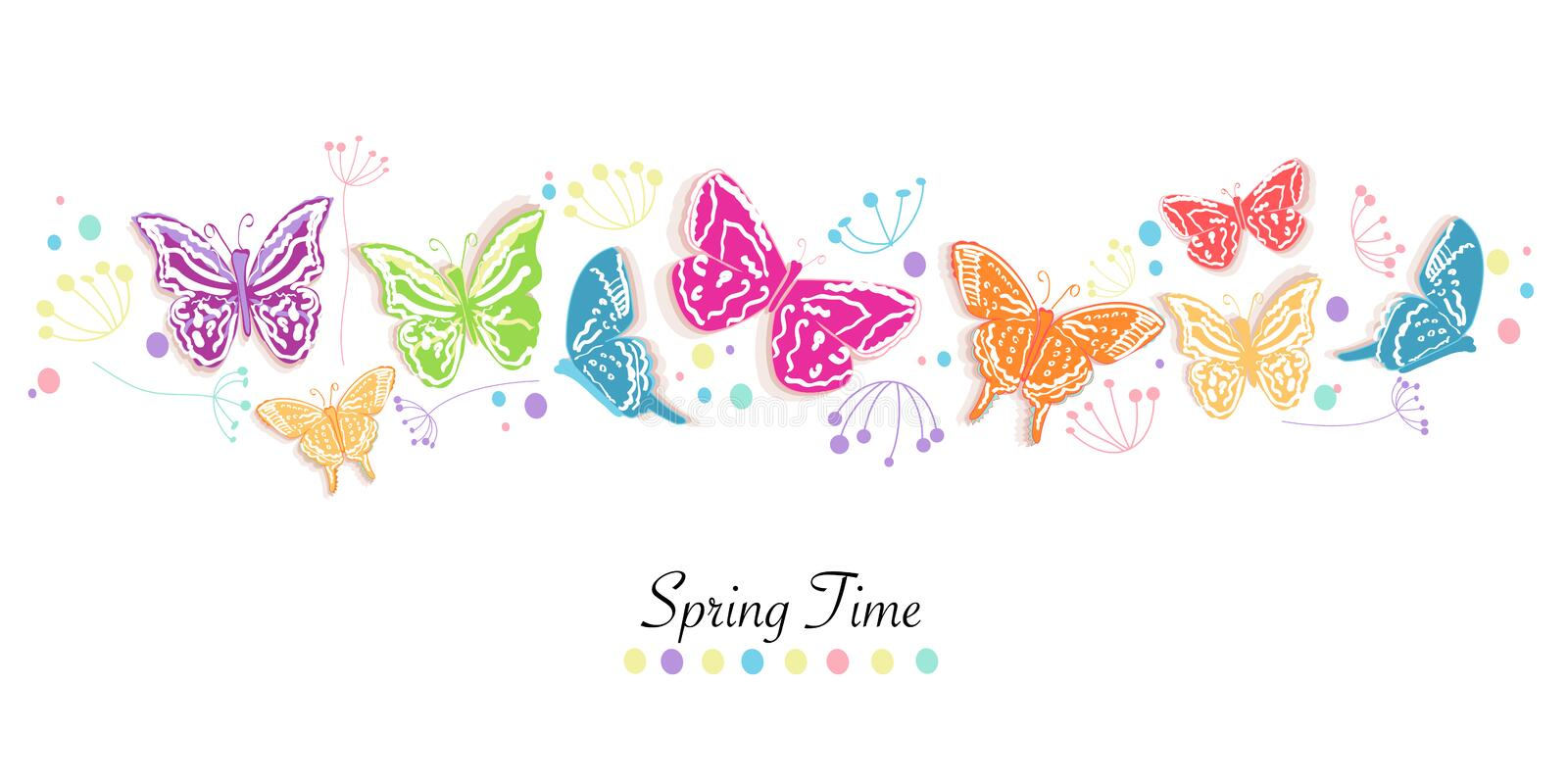 Butterfly and flowers abstract spring time banner vector background royalty free illustration