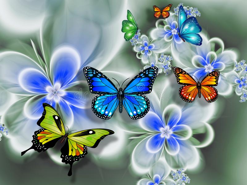 Butterfly on flowers, abstraction. Wallpaper for the wallsn. 3D rendering. vector illustration