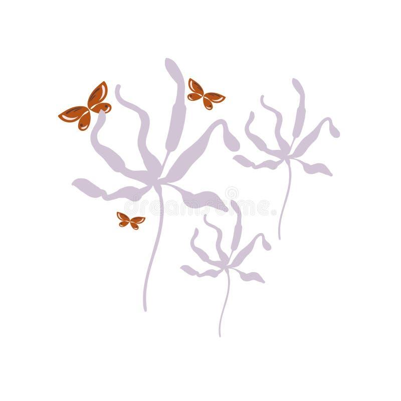 Butterfly flowers card vector floral design element primitive scandinavian stock illustration