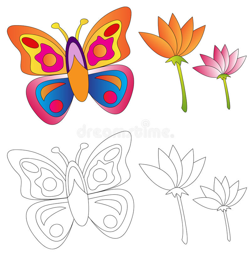 Butterfly & flowers/coloring book vector illustration