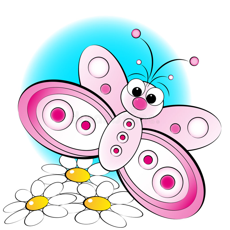 Butterfly and flowers - Kid Illustration royalty free illustration