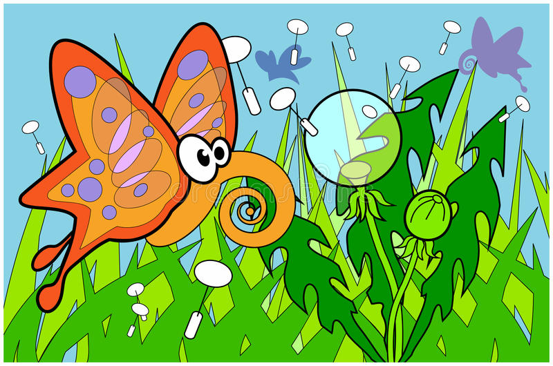 Butterfly flyin over grass with dandelions illustr. Dandelion puffball from below with cloudless sky vector illustration