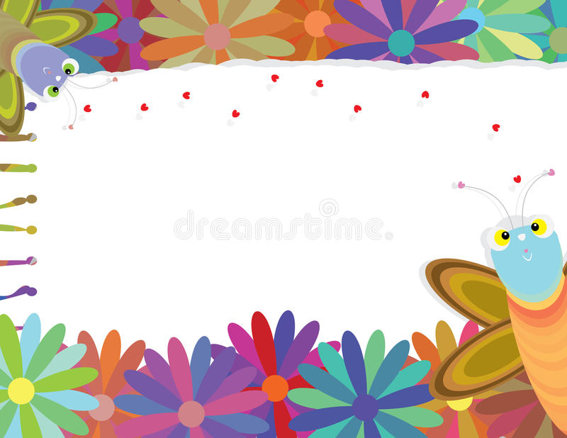 Butterfly Follow Loves Flower Note Torn_eps royalty free illustration
