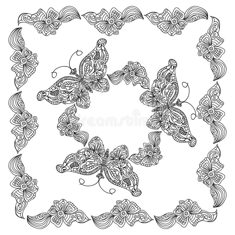 Butterfly Frame Coloring Page Stock Illustration - Illustration of ...