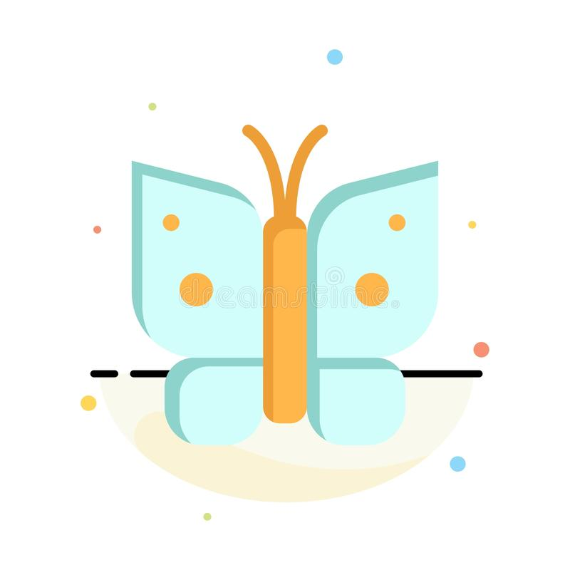Butterfly, Freedom, Insect, Wings Abstract Flat Color Icon Template stock illustration