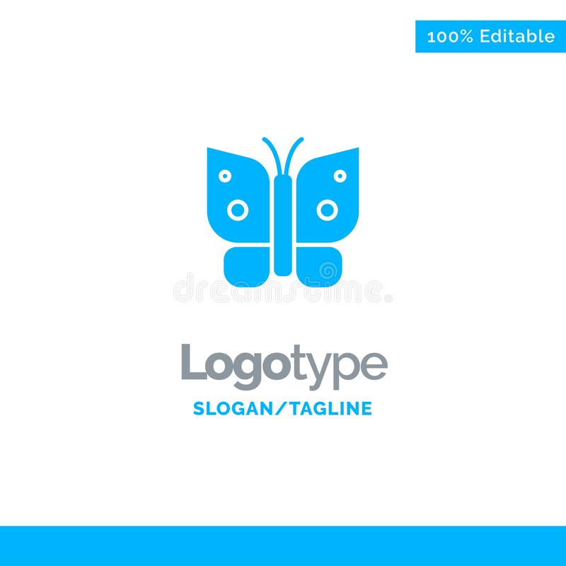 Butterfly, Freedom, Insect, Wings Blue Business Logo Template stock illustration