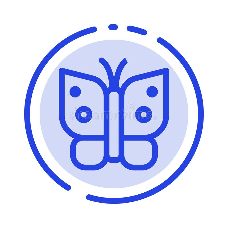 Butterfly, Freedom, Insect, Wings Blue Dotted Line Line Icon royalty free illustration