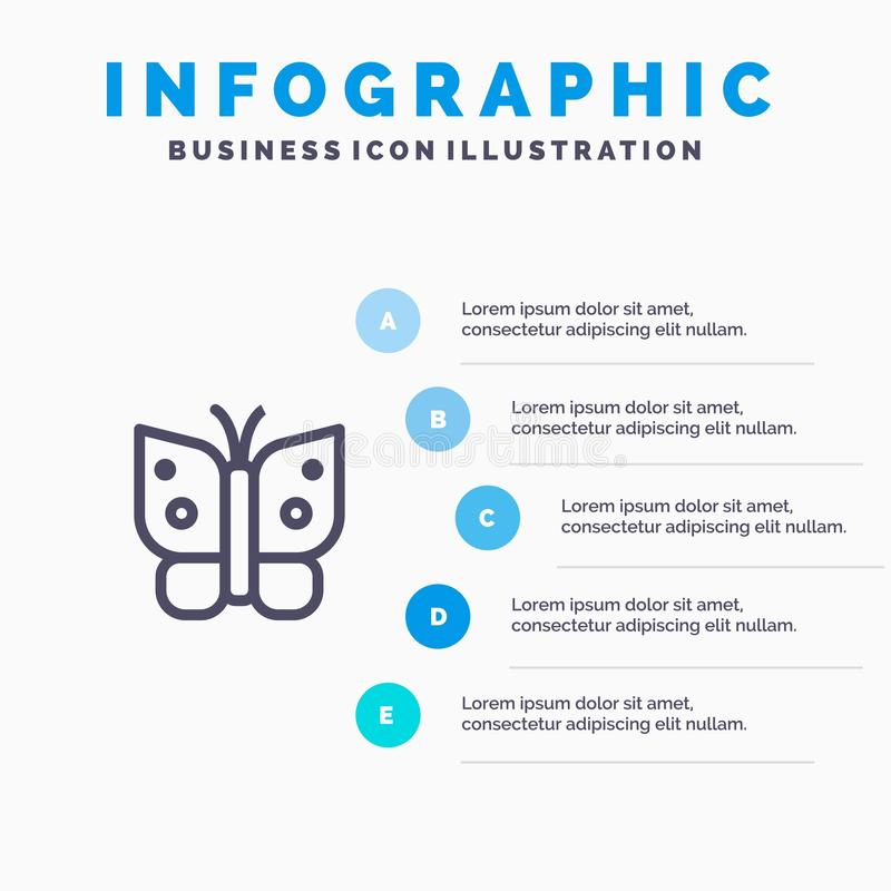 Butterfly, Freedom, Insect, Wings Blue Infographics Template 5 Steps. Vector Line Icon template vector illustration