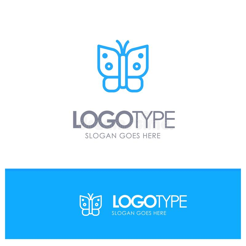 Butterfly, Freedom, Insect, Wings Blue Logo Line Style royalty free illustration