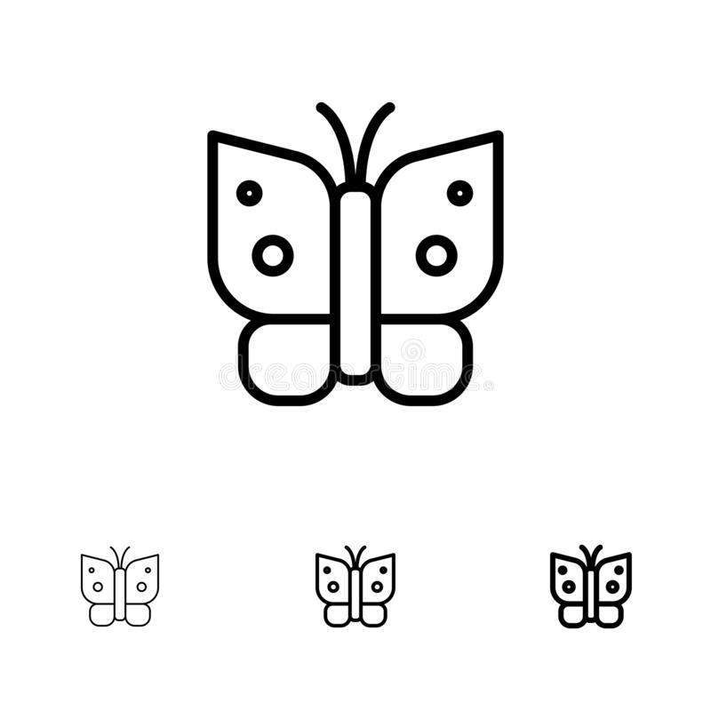 Butterfly, Freedom, Insect, Wings Bold and thin black line icon set stock illustration