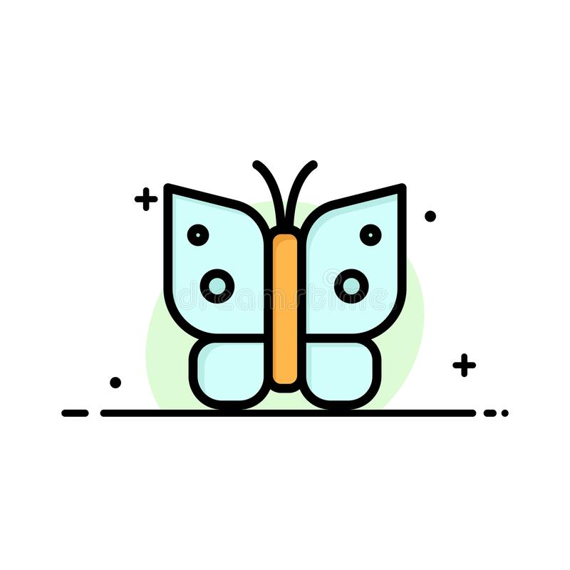 Butterfly, Freedom, Insect, Wings  Business Flat Line Filled Icon Vector Banner Template stock illustration