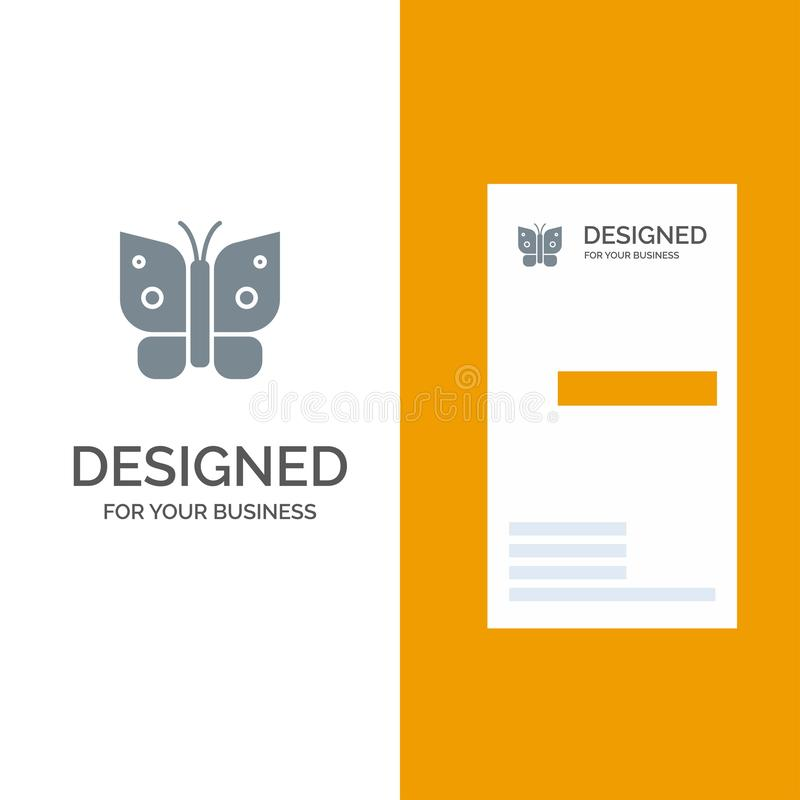 Butterfly, Freedom, Insect, Wings Grey Logo Design and Business Card Template vector illustration